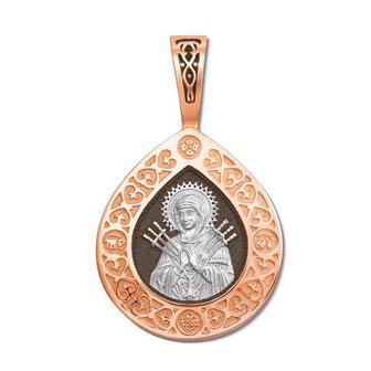 Серебряная подвеска-иконка Божией Матери