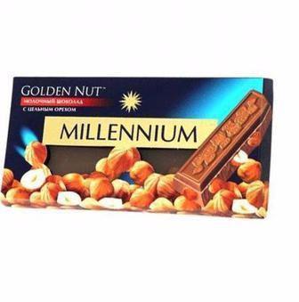 Скидка 22% ▷ Шоколад Міленіум голд молочний та чорний з лісовими горіхами 100г