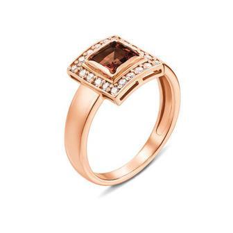 Золотое кольцо с раухтопазом и фианитами. Артикул 530047/раух сп