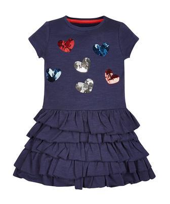Синя сукня з сердечком та багатошаровою спідницею від Mothercare
