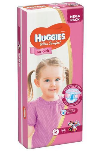 Скидка 25% ▷ Подгузники Huggies Ultra Comfort для девочек р5 12-22кг 56 шт