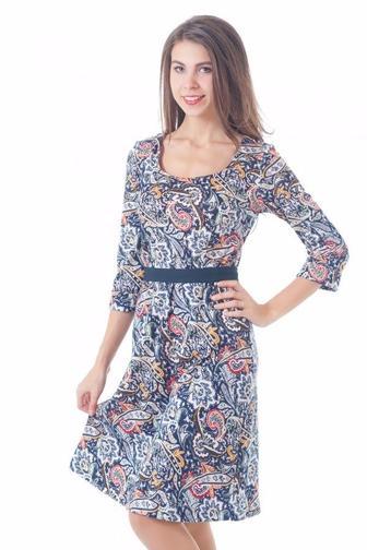 Платье трикотажное с юбкой-трапецией