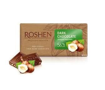 Шоколад чорний з подрібненими лісовими горіхами 56% 90г