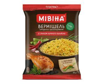 Вермішель «Мівіна» зі смаком курячого бульйону з овочами та зеленню гостра, 60г