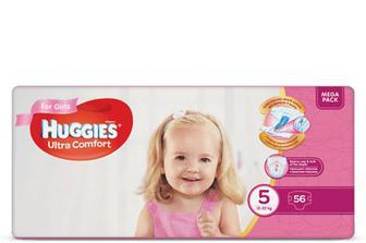 Підгузки Huggies Ultra Comfort для дівчаток 5 (12-22 кг) 56 шт./уп