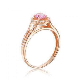 Золотое кольцо с фианитом Swarovski. Артикул 12110/01/0/1352