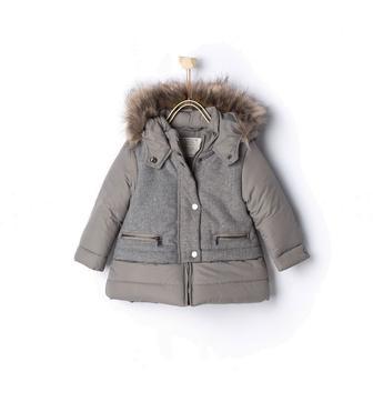 Стьобане комбіноване пальто