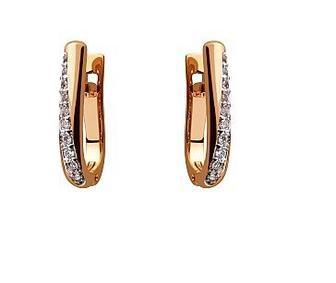 Золотые серьги с фианитами Артикул 15-000108671