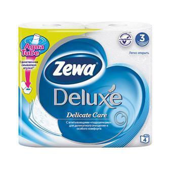 Туалетная бумага    Zewa Deluxe  3 слоя, 4 рулона