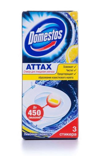 Стикер для очистки туалета Domestos Лимонная свежесть, 3 шт
