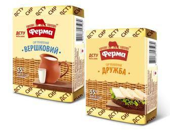 Сир плавлений Вершковий, Дружба 55% жиру Ферма, 90 г