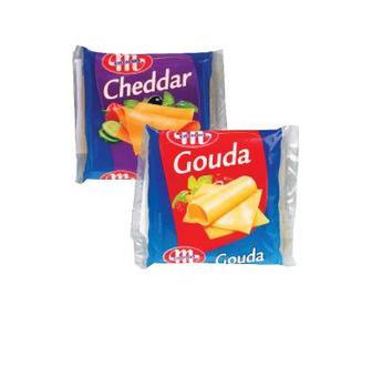 Сир плавлений слайсами 49% Гоуда,Чеддер  Млековіта 130г