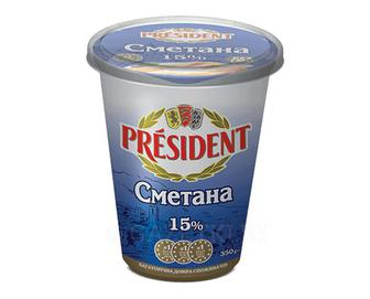 Сметана Президент 15% 350г
