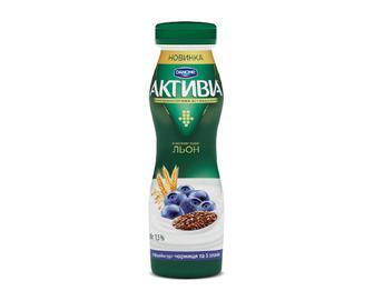 Біфідойогурт питний 1,5% жиру «Активіа» чорниця-5 злаків, 290 г