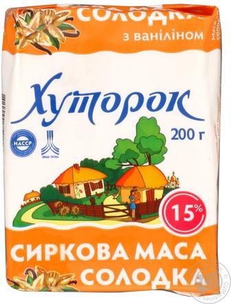 Сиркова маса з ваніліном, курагою та родзинками 15% Хуторок 200 г