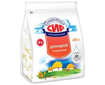 Сир кисломолочний «Білоцерківський» «Домашній традиційний» 9% жиру, 400г