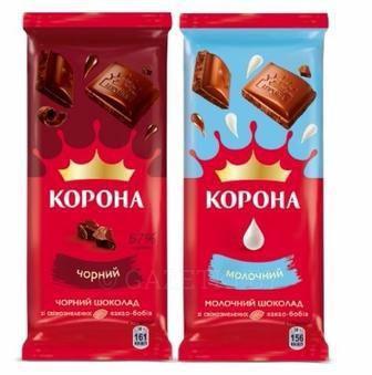 Шоколад Корона молочный шоколад и чорный 90г