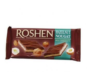 """Скидка 16% ▷ Шоколад молочний з нугою зі см. горіха, кокоса, м'яти, чорниці,  """"Roshen"""", 90 г"""