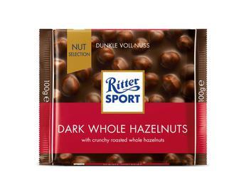 Шоколад Ritter Sport темний з цільними лісовими горіхами, 100г