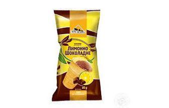 Мороженое лимонно-шоколадное мороженое в вафельном стаканчике Три Ведмеді, 70г