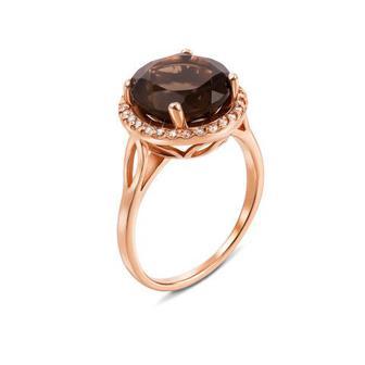 Золотое кольцо с раухтопазом и фианитами. Артикул 530039/раух п