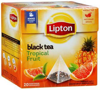 ЧАЙ чорний Tropical Fruit, 20 х 1,8 г LIPTON