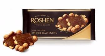 Шоколад екстрачорний з цілим лісовим горіхом, Рошен, 90 г