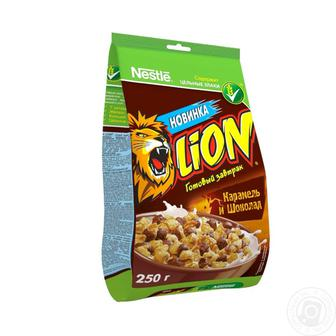 Готовий сніданок  LION вибуховий карамельний мікс  Nestle   250 г