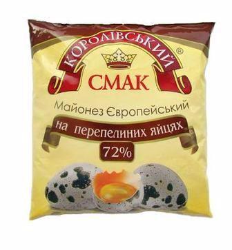 Майонез Європейський на перепелиних яйцях 72%, Королівський смак, 380г