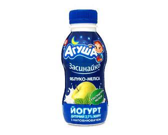 Йогурт «Агуша» дитячий яблуко-меліса, 2,7%, 200г