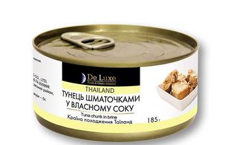 Консерви тунець шматочками у власному соку «De Luxe F&G» - 185 г