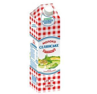 Молоко ультрапастеризованное Селянське 3,2% 900мл
