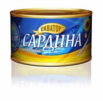 САРДИНА «Атлантична» натуральна, 230 г ЕКВАТОР