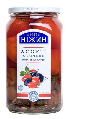 Асорті Ніжин овочеве томати та слива, 920 г