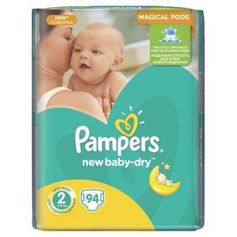 Скидка 25% ▷ Подгузники Pampers new baby-dry 94шт