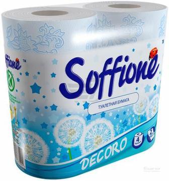 Папір туалетний Soffione Decoro Блакитний, 2 шари 4 шт