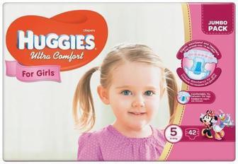 Скидка 20% ▷ Подгузники Huggies Ultra Comfort Jumbo р.5 (12-22 кг) для девочек 42 шт