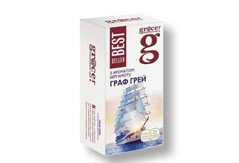 Чай «Граф Грэй» з ароматом бергамоту чорний, GRACE 25 ф/п х 2 г