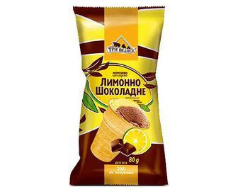 Морозиво «Три Ведмеді» двошарове лимонно-шоколадне у вафельному стакані, 80г