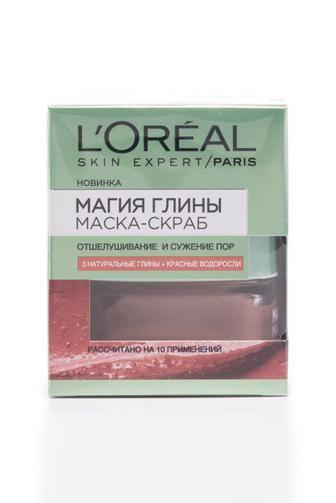 Маска-скраб для лица L'Oreal SKIN EXPERT Магия глины с натуральной глиной и красными водорослями для разглаживания поверхности кожи, 50мл