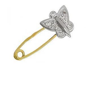 Золотая булавка Бабочка с фианитами Артикул 15-000058659