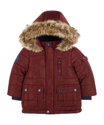 Бордова куртка зі штучним хутром від Mothercare