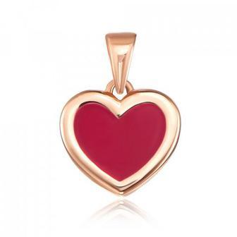Золотая подвеска «Сердце» с эмалью. Артикул 31695/01/0/849 Артикул 31695/01/0/849
