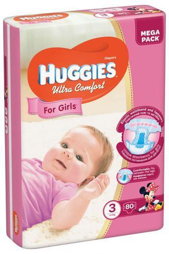 Подгузники Huggies Ultra Comfort для девочек 3,4,5 56-80шт