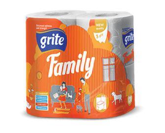 Папір туалетний Grite Family 3-шаровий, 4 рулони/уп