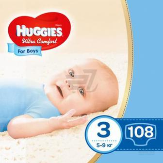 Підгузки Huggies Ultra Comfort 3 5-9 кг 108 шт. для хлопчика