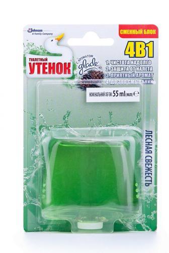 Средство для чистки туалета Туалетный Утенок Лесная свежесть сменный флакон, 55г