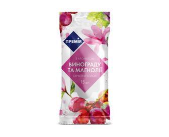 Серветки вологі з ароматом винограду та магнолії «Премія»® 15 шт./уп