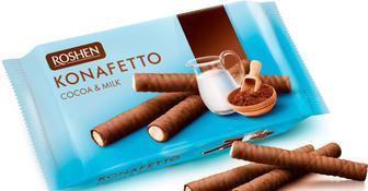 Вафельні трубочки Konafetto какао і молоко, Рошен,156 г