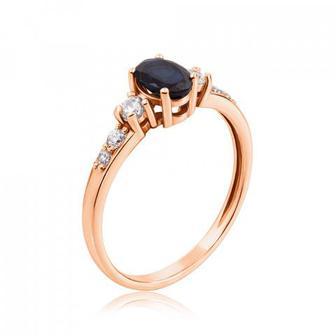 Золотое кольцо с сапфиром и фианитами. Артикул 530152/01/0/8163